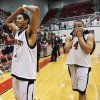 Putnam City\'s Xavier Henry (1), left, and Garen Wright (24) leave the court after the Pirates lost the state high school boys basketball playoff game between Putnam City and Tulsa Memorial at Carl Albert High School in Midwest City, Okla., Thursday, March 6, 2008. Tulsa Memorial won, 40-38. BY NATE BILLINGS, THE OKLAHOMAN