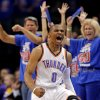 Oklahoma City\'s Russell Westbrook (0) celebrates during Game 5 in the second round of the NBA playoffs between the Oklahoma City Thunder and the L.A. Lakers at Chesapeake Energy Arena in Oklahoma City, Monday, May 21, 2012. Photo by Sarah Phipps, The Oklahoman