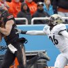 Oklahoma State\'s Charlie Moore (17) catches a pass in front of Purdue\'s Antoine Lewis during the Heart of Dallas Bowl football game between the Oklahoma State University (OSU) and Purdue University at the Cotton Bowl in Dallas, Tuesday,Jan. 1, 2013. Photo by Sarah Phipps, The Oklahoman