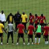 Ghana players form a circle at the end of their training at the team hotel in Nelspruit, South Africa, Tuesday Feb. 5, 2013. Ghana will play their African Cup of Nations semifinal soccer match against Burkina Faso on Wednesday. (AP Photo/Themba Hadebe)