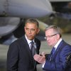 Photo - US President Barack Obama, left, looks on as Polish President Bronislaw Komorowski gestures during a meeting with Polish and US soldiers at the military airport in Warsaw, Poland, Tuesday, June 3, 2014. Obama came to Poland to meet regional leaders and attend ceremonies marking 25 years of Poland's democracy(AP Photo/Alik Keplicz)