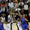 Oklahoma City\'s Russell Westbrook (0) puts up a shot over San Antonio\'s Boris Diaw (33) and Tim Duncan (21) during Game 2 of the Western Conference Finals between the Oklahoma City Thunder and the San Antonio Spurs in the NBA playoffs at the AT&T Center in San Antonio, Texas, Tuesday, May 29, 2012. Oklahoma City lost 120-111. Photo by Bryan Terry, The Oklahoman
