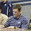 Edmond North\'s Austin Brasher signs a letter of intent to play college football at Brigham Young on Wednesday, Feb. 3, 2010. Photo by David McDaniel, The Oklahoman