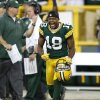 Green Bay Packers\' Randall Cobb reacts after New Orleans Saints\' Garrett Hartley missed a field goal during the fourth quarter of an NFL football game Sunday, Sept. 30, 2012, in Green Bay, Wis. The Packers won 28-27. (AP Photo/Tom Lynn)