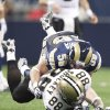 Photo - Saints tight end Jeremy Shockey fumbles after he was hit by the Rams' David Vobora. AP photo