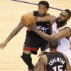 Oklahoma City\'s James Harden (13) tries to get past Miami\'s Udonis Haslem (40) during Game 2 of the NBA Finals between the Oklahoma City Thunder and the Miami Heat at Chesapeake Energy Arena in Oklahoma City, Thursday, June 14, 2012. Photo by Nate Billings, The Oklahoman