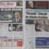 Photo - Two Johannesburg newspapers report Tuesday, July 15, 2014 on how Oscar Pistorius, right, who is accused of the murder of his girlfriend, recently visited a nightclub with a cousin and was allegedly accosted by a man, Jared Mortimer, left and center, who aggressively questioned him about his murder trial, his family said Tuesday. A spokeswoman for the Pistorius family  said an argument followed and the athlete, who is free on bail, soon left the club. He had been seated in a quiet booth in the VIP section, she said in a statement.  Afrikaans headline reads
