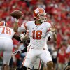 Photo - Clemson quarterback Cole Stoudt looks to pass the ball in the first half of an NCAA college football game against Georgia, Saturday, Aug. 30, 2014, in Athens, Ga. (AP Photo/David Goldman)