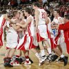 The Forgan Bulldogs celebrate after the Class B boys basketball state tournament championship game between Graham and Forgan at State Fair Arena in Oklahoma City, Saturday, March 5, 2011. Forgan won, 81-47. Photo by Nate Billings, The Oklahoman