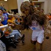 Rumble the bison is greeted by fans Leslie and Kohen Wafer during the Oklahoma City Thunder\'s 1,000th community appearance at Ranchwood Nursing Home on Tuesday, Nov. 27, 2012, in Yukon, Okla. Photo by Chris Landsberger/The Oklahoman