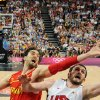 United States\' Kevin Love, right, vies for the ball with Spain\'s Pau Gasol, left, during the men\'s gold medal basketball game at the 2012 Summer Olympics in London on Sunday, Aug. 12, 2012. (AP Photo/Mark Ralston, Pool)