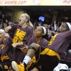 Players on the Central Michigan bench celebrate in the second half against Akron in an NCAA college basketball game in the final of the Mid-American Conference women\'s tournament Saturday, March 16, 2013, in Cleveland. Central Michigan won 86-68. (AP Photo/David Richard) ORG XMIT: OHDR111
