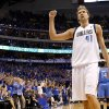 Dirk Nowitzki (41) of Dallas reacts during game 1 of the Western Conference Finals in the NBA basketball playoffs between the Dallas Mavericks and the Oklahoma City Thunder at American Airlines Center in Dallas, Tuesday, May 17, 2011. Photo by Bryan Terry, The Oklahoman