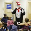 The Cat in the Hat, aka. Bruce Treadaway, talks to children at Positive Tomorrows school in Oklahoma City, OK, Friday, Sept. 10, 2010. By Paul Hellstern, The Oklahoman