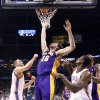 Lakers\' Pau Gasol (16) tips the ball in as Oklahoma City\'s Oklahoma City\'s Cole Aldrich (45) and Serge Ibaka (9) defend during the NBA basketball game between the Oklahoma City Thunder and the Los Angeles Lakers, Sunday, Feb. 27, 2011, at the Oklahoma City Arena.Photo by Sarah Phipps, The Oklahoman