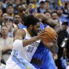 Denver Nuggets center Nene (31) from Brazil drives around Oklahoma City Thunder forward Serge Ibaka (9) from the Republic of Congo during the first half in game 4 of a first-round NBA basketball playoff series Monday, April 25, 2011, in Denver. (AP Photo/Jack Dempsey)