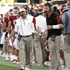 Head coach Bob Stoops pleads with his defense and defensive coordinator Brent Venables (right) during the second half of the college football game where the University of Oklahoma Sooners (OU) defeated the Air Force Falcons 27-24 at Gaylord Family-Oklahoma Memorial Stadium on Saturday, Sept. 18, 2010, in Norman, Okla. Photo by Steve Sisney, The Oklahoman