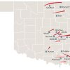 NATIONAL WEATHER SERVICE / PRELIMINARY TORNADO TRACKS / STATE / OKLAHOMA / MONDAY / MAY 10, 2010 / MAP / GRAPHIC