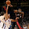 Miami\'s LeBron James (6) passes the ball over Oklahoma City\'s Thabo Sefolosha (2) during Game 2 of the NBA Finals between the Oklahoma City Thunder and the Miami Heat at Chesapeake Energy Arena in Oklahoma City, Thursday, June 14, 2012. Photo by Sarah Phipps, The Oklahoman
