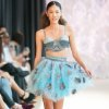 Photo -  Aqua full skirt and bra top by Victoria Roberts modeled at Oklahoma Fashion Week. Photo by Gerry Hanan, Hanan Exposures   Photographer: Gerry Hanan