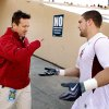 Head coach Bob Stoops encourages players as they head to the locker room during pre-game warms up before the college football game between the University of Oklahoma Sooners (OU) and the Stanford University Cardinal will be played on Thursday, Dec. 31, 2009, in El Paso, Tex. Photo by Steve Sisney, The Oklahoman