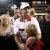 Oklahoma head coach Bob Stoops celebrates the Sooner\'s win in the Insight Bowl college football game between the University of Oklahoma (OU) Sooners and the Iowa Hawkeyes at Sun Devil Stadium in Tempe, Ariz., Friday, Dec. 30, 2011. Photo by Sarah Phipps, The Oklahoman