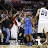 Oklahoma City\'s Derek Fisher (6) reacts after he is called for a foul of San Antonio\'s Patty Mills (8) during Game 5 of the Western Conference Finals in the NBA playoffs between the Oklahoma City Thunder and the San Antonio Spurs at the AT&T Center in San Antonio, Thursday, May 29, 2014. Photo by Sarah Phipps, The Oklahoman