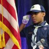 Cub Scout Brice Knight salutes the American flag during the posting of the colors at the start of the 16th annual Midwest City Dr. Martin Luther King, Jr. Prayer Breakfast inside the Reed Conference Center Monday morning, Jan. 21, 2013. Knight is a member of Cub Scout Pack 1864 from St. John Missionary Baptist Church. The theme of this year\'s event is