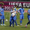 Greece\'s coach Fernando Santos gives directions to his players during a training session at the Euro 2012 soccer championship in Legionowo about 25 kilometers (15 miles) north of Warsaw, Poland on Monday, June 18, 2012. (AP Photo/Thanassis Stavrakis)