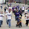 Walkers near the end of the 2012 Oklahoma City Walk to End Alzheimer\'s at Bricktown Ballpark in Oklahoma City, OK, Saturday, September 15, 2012, By Paul Hellstern, The Oklahoman