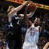 Oklahoma City\'s Kevin Durant (35) goes for the rebound beside Minnesota\'s Andrei Kirilenko (47) during an NBA basketball game between the Oklahoma City Thunder and the Minnesota Timberwolves at Chesapeake Energy Arena in Oklahoma City, Wednesday, Jan. 9, 2013. Oklahoma City won 106-84. Photo by Bryan Terry, The Oklahoman