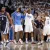 Oklahoma City\'s Serge Ibaka (9), Kevin Durant (35), and Eric Maynor (6) celebrate as Sam Young (4) of Memphis walks off the court after game five of the Western Conference semifinals between the Memphis Grizzlies and the Oklahoma City Thunder in the NBA basketball playoffs at Oklahoma City Arena in Oklahoma City, Wednesday, May 11, 2011. Photo by Bryan Terry, The Oklahoman
