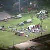 This video image provided by WFAA-TV shows injured people being treated on the flood-lit the high school football field turned into a staging area after the blast in West Texas Wednesday April 17, 2013. (AP Photo/WFAA-TV)
