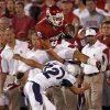 Oklahoma\'s Cameron Kenney (6) leaps over Utah State\'s Braeden Loveless (32) on a kick return during the second half of the college football game between the University of Oklahoma Sooners (OU) and Utah State University Aggies (USU) at the Gaylord Family-Oklahoma Memorial Stadium on Saturday, Sept. 4, 2010, in Norman, Okla. Photo by Chris Landsberger, The Oklahoman