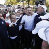 European players celebrate after winning the Ryder Cup PGA golf tournament Sunday, Sept. 30, 2012, at the Medinah Country Club in Medinah, Ill. (AP Photo/David J. Phillip) ORG XMIT: PGA225