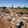 Debris from a destroyed mobile home is pictured at the Hideaway mobile home park, Sunday, April, 15, 2012. A tornado struck Woodward early Sunday morning. Photo by Sarah Phipps, The Oklahoman.