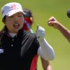 Photo - Shanshan Feng celebrates after making an eagle on the fifth hole during the third round of the Manulife Financial LPGA Classic golf tournament Saturday, June 7, 2014 in Waterloo, Ontario. (AP Photo/The Canadian Press, Dave Chidley)