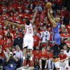 Oklahoma City\'s Derek Fisher (6) shoots a three-point basket over Houston\'s James Harden (13) during Game 6 in the first round of the NBA playoffs between the Oklahoma City Thunder and the Houston Rockets at the Toyota Center in Houston, Texas, Friday, May 3, 2013. Oklahoma City won 103-94. Photo by Bryan Terry, The Oklahoman