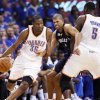 OKLAHOMA CITY ARENA / PLAYOFFS: Oklahoma City\'s Kevin Durant (35) dribbles past Shane Battier (31) of Memphis as Kendrick Perkins (5) of Oklahoma City sets a screen in the second half during game 7 of the NBA basketball Western Conference semifinals between the Memphis Grizzlies and the Oklahoma City Thunder at the OKC Arena in Oklahoma City, Sunday, May 15, 2011. The Thunder won, 105-90. Photo by Nate Billings, The Oklahoman ORG XMIT: KOD