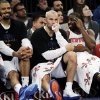 From left, New York Knicks forward Carmelo Anthony, center Tyson Chandler, guard Jason Kidd and guard Raymond Felton sit on the bench in the waning minutes of their 88-76 win over the Indiana Pacers in their NBA basketball game at Madison Square Garden in New York, Sunday, Nov. 18, 2012. (AP Photo/Kathy Willens)