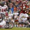 Oklahoma\'s Jalen Saunders (8) runs past Texas Tech\'s Tre\' Porter (5) and Bruce Jones (24) on a 76-yard touchdown catch during a college football game between the University of Oklahoma Sooners (OU) and the Texas Tech Red Raiders at Gaylord Family-Oklahoma Memorial Stadium in Norman, Okla., on Saturday, Oct. 26, 2013. Photo by Bryan Terry, The Oklahoman