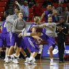 Stephen F. Austin players react during after their college basketball game between the University of Oklahoma (OU) and Stephen F. Austin University at the Lloyd Noble Center in Norman, Okla., Tuesday, Dec. 18, 2012. Oklahoma lost 56-55. Photo by Bryan Terry, The Oklahoman