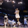 Oklahoma City\'s Russell Westbrook (0) puts up a shot over Denver\'s Nene (31)during the first round NBA playoff game between the Oklahoma City Thunder and the Denver Nuggets on Sunday, April 17, 2011, in Oklahoma City, Okla. Photo by Chris Landsberger, The Oklahoman