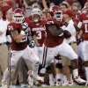 OU\'s Tom Wort (21) runs with OU\'s Casey Walker (53) who returns a fumble during the college football game between the University of Oklahoma Sooners (OU) and the University of Kansas Jayhawks (KU) at Gaylord Family-Oklahoma Memorial Stadium on Saturday, Oct. 20th, 2012, in Norman, Okla. Photo by Chris Landsberger, The Oklahoman