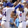 Photo -   Chicago Cubs' Alfonso Soriano, right, celebrates with teammate Anthony Rizzo left, after hitting a two-RBI home run in the third inning during a baseball game against the San Francisco Giants in Chicago, Friday, Aug. 31, 2012. (AP Photo/Paul Beaty)