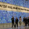 President Barack Obama, first lady Michelle Obama, former New York City Mayor Michael Bloomberg, former Secretary of State Hillary Rodham Clinton, former President Bill Clinton, and Diana Taylor, tour the Memorial Hall at the National September 11 Memorial Museum, Thursday, May 15, 2014, in New York. (AP Photo/Carolyn Kaster)