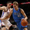 Dallas\' Dirk Nowitzki (41) drives past Oklahoma City\'s Nick Collison (4) during an NBA basketball game between the Oklahoma City Thunder and the Dallas Mavericks at Chesapeake Energy Arena in Oklahoma City, Thursday, Dec. 27, 2012. Oklahoma City won 111-105. Photo by Bryan Terry, The Oklahoman