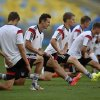 Photo - Germany's Miroslav Klose, 2nd from left, stretches during an official training session one day before the World Cup quarterfinal soccer match between Germany and France at the Maracana Stadium in Rio de Janeiro, Brazil, Thursday, July 3, 2014. (AP Photo/Martin Meissner)