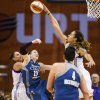 Photo - Phoenix Mercury center Brittney Griner blocks a last-second shot by Minnesota Lynx guard Lindsay Whalen during a WNBA basketball game Saturday, Aug. 9, 2014, in Phoenix. The Mercury won 82-80. (AP Photo/The Arizona Republic, Pat Shanahan)