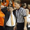 OSU head coach Travis Ford reacts to a foul called against the Cowboys in the second half of a men\'s college basketball game between the Oklahoma State University Cowboys and Texas A&M University Aggies at Gallagher-Iba Arena in Stillwater, Okla., Saturday, Feb. 25, 2012. OSU won, 60-42. Photo by Nate Billings, The Oklahoman